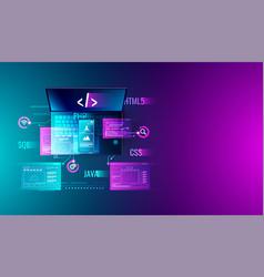 Web development application design coding vector