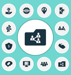 Work icons set with group challenge shared vector