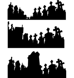 collection of graveyard silhouettes in black vector image vector image