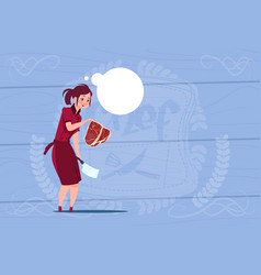 Female chef cook holding meat cartoon chief in vector