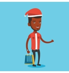Man in santa hat shopping for christmas gifts vector image vector image