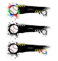 set grunge banners with blots and baseball balls vector image