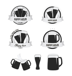 Set of happy hour labels and beer icons vector image