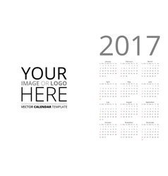 Calendar 2017 mockup vector image vector image