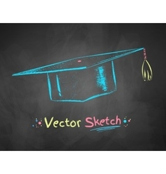 Chalk drawn mortarboard vector image