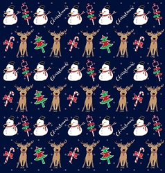 christmas pattern snowman vector image vector image
