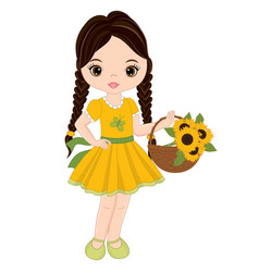 cute little girl with basket of sunflowers vector image vector image