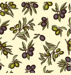seamless pattern with different olive products and vector image vector image