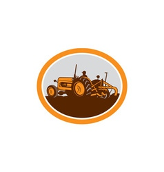 Vintage Farm Tractor Farmer Plowing Oval Retro vector image