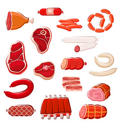 fresh meat and sausage icon set for food design vector image vector image