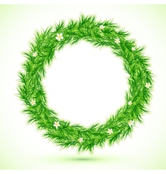 Green grass with chamomiles round frame vector image vector image