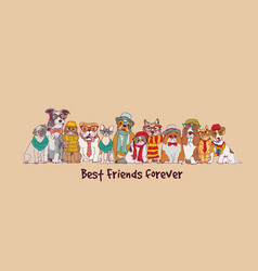 group fashion best friends pets fun animals card vector image vector image