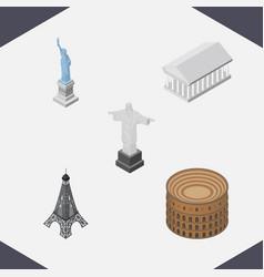 isometric architecture set of paris new york rio vector image