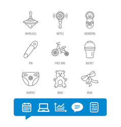 Newborn diapers and bear toy icons first bike vector