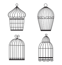 Silhouette birdcages collection set vector image vector image
