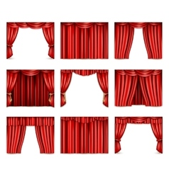 Theatre Curtain Icons Set vector image