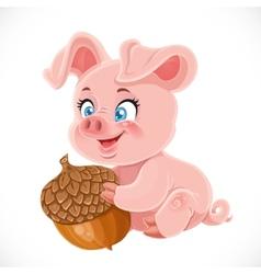 Cute cartoon happy baby pig holding a large acorn vector