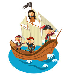 happy pirates sailing in their pirate ship vector image vector image