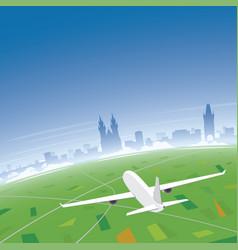 prague skyline flight destination vector image