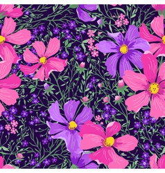 seamless floral pattern with flowers and herbs vector image vector image