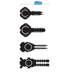set of spaceship weapons silhouette five vector image vector image