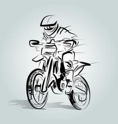 sketch of a motocross rider vector image
