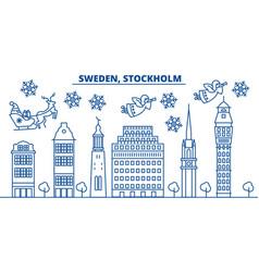 sweden stockholm winter city skyline merry vector image