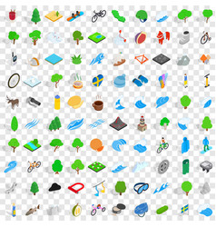 100 camping nature icons set isometric 3d style vector