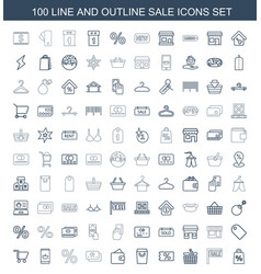 100 sale icons vector