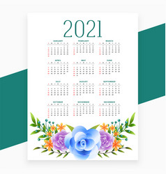 2021 calendar design in flower style theme vector