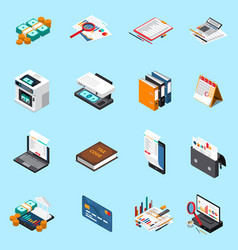 accounting tax isometric icons vector image