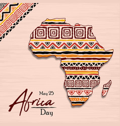 Africa day ethnic tribal art african map card vector