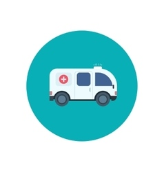 Ambulance car icon in flat design style vector image