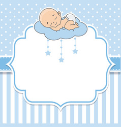 Baby boy sleeping on the cloud vector