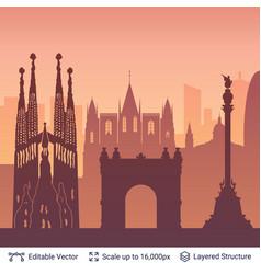 Barcelona famous city scape vector