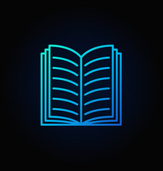 blue open book icon vector image