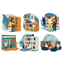Bookstore or public library with visitors reading vector