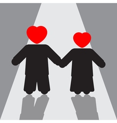 Boy and girl silhouettes with red hearts shadows vector