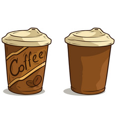 cartoon coffee cup with lid icon vector image