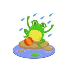 Cartoon Frog Character Playing Under Rain vector image