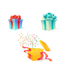 cartoon present gift box ribbon bow set vector image