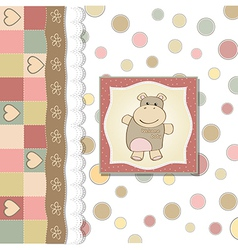 childish baby girl announcement card with hippo vector image
