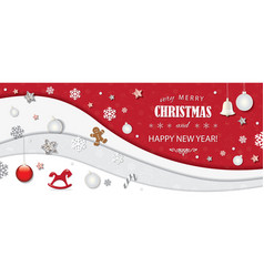 christmas and happy new year winter background 3d vector image