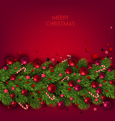Christmas background with balls and fir twig vector