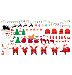 christmas big set santa claus character creation vector image