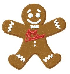 christmas gingerbread man cartoon icon vector image
