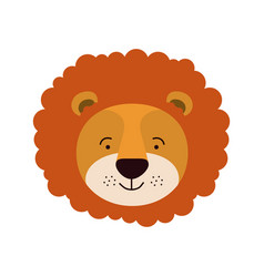 Colorful caricature cute face of male lion animal vector