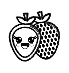 Contour kawaii nice happy strawberry icon vector