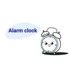 Cute retro alarm clock cartoon comic character vector