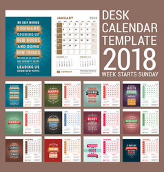 Desk calendar template for 2018 year template vector
